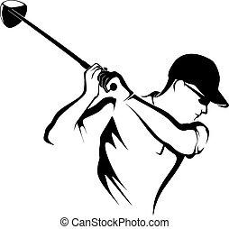 Golfer Teeing off Closeup