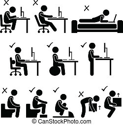 A set of human pictogram representing the good and bad posture while sitting in front of a computer, motion bowel at toilet, and lifting a box.