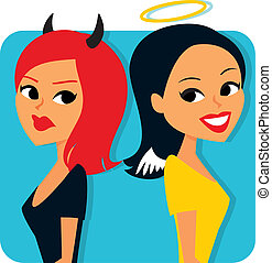 Humorous image of Two girls with angel halo and devil horns