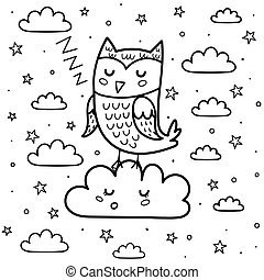 Good night coloring page with a cute sleeping owl and cloud. Black and white fantasy background