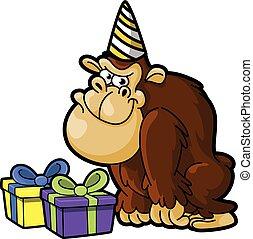 gorilla using birthday party