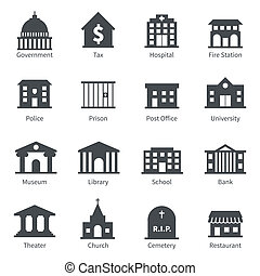 Government building icons set of police museum library theater isolated vector illustration