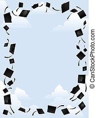 Border of graduation caps thrown into the sky