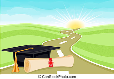 Celebrating graduation day with bright future ahead. Vector illustration saved as EPS AI8, all elements layered and grouped.
