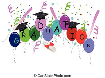 grad greeting on white with balloons and confetti
