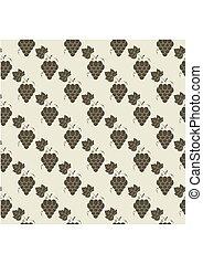 Grape pattern. Vine seamless background. Vector illustration