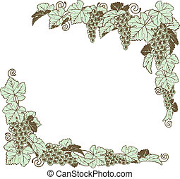 A grapevine border frame design element in a retro woodblock or woodcut vintage print style