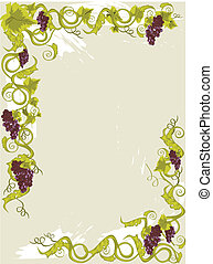 Grapes menu card in vines with leaves stylised