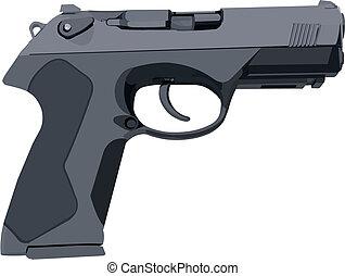 Standard gray hand gun illustration in vector.