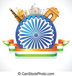 illustration of monument around Ashoka Wheel showing culture of India