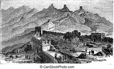 Great Wall of China, during the 1890s, vintage engraving. Old engraved illustration of the Great Wall of China.