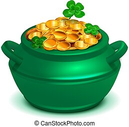 Green cauldron pan full of gold coins. Lucky clover quatrefoil symbol st patricks day