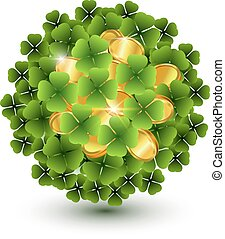 Green clover leaves and gold coins ball