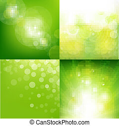 4 Green Eco Background With Blur, Vector Illustration