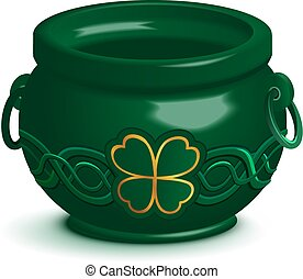 Green empty pot with leaf clover ornament