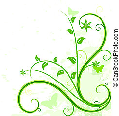 Green floral background.