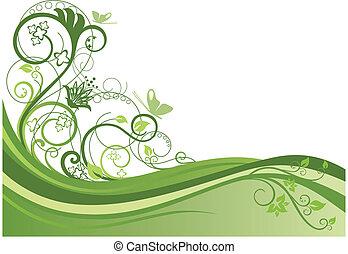 Green floral border design vector illustration