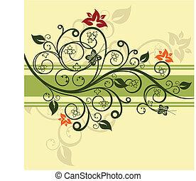Green floral design vector illustration