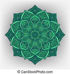 green floral round ornament
