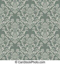 Seamless green floral damask wallpaper