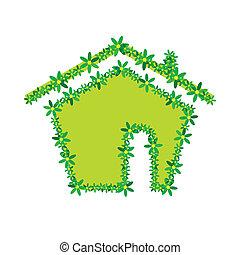 green flower house illustration