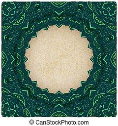 green frame floral ornament old background