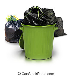 green garbage can over a white background with a plastic closed bag inside and two other plastic bags at the rear side - studio shot plus 3d trash
