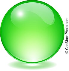 Green glass orb, vector ball illustration