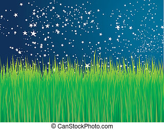 Green grass and stars vector