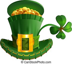 Green hat full gold coin and luck leaf clover