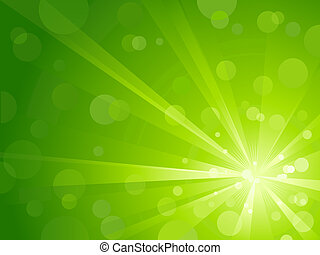 Explosion of light with shiny light dots, effectful abstract background in shades of green. Use of radial and linear gradients, global colors. No transparencies. Artwork grouped and layered.