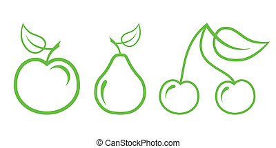 Green Nature Icons. Part 2 - Fruit