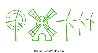 Green Nature Icons. Part 5 - Windmills