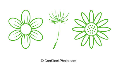 Green Nature Icons. Part 9 - Flowers