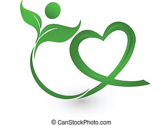 Green nature illustration logo