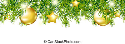 Green New Year Garland, Isolated On White Background, Vector Illustration