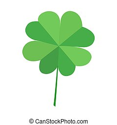Green quatrefoil clover leaf, isolated on white background. Vector decorative simvol lucky leaf clover.