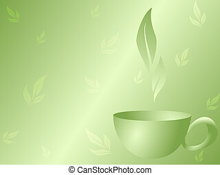 stylish vector background with a green tea design. Graphics are grouped and in several layers for easy editing. The file can be scaled to any size.