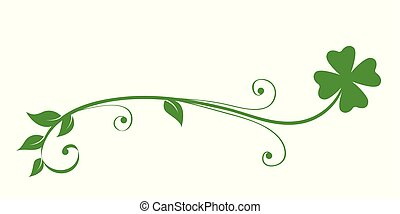 green tendril clover isolated on white background