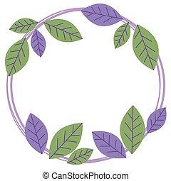 Green violet leaves round frame, wreath of leaf, floral frame