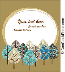 Greeting card template with trees