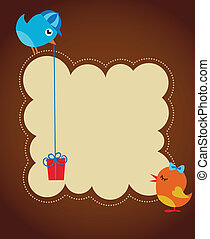 greeting card template with two birds