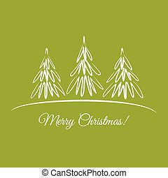 Greeting card with Christmas trees