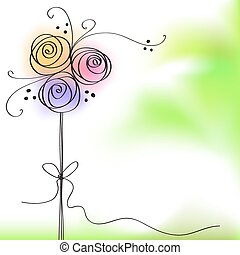 greeting card with color rose flowe