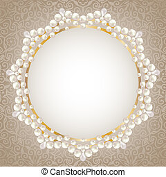 Greeting or invitation card with pearl frame.