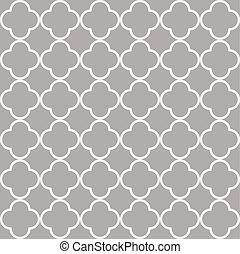 Grey quatrefoil outline ornamental pattern