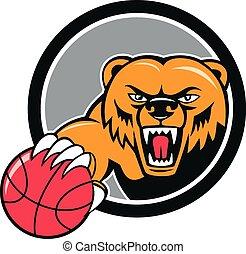 Grizzly Bear Angry Head Basketball Cartoon