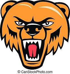 Grizzly Bear Angry Head Cartoon