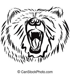 grizzly bear head, rearing angry pose