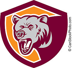 Grizzly Bear Head Shield Retro